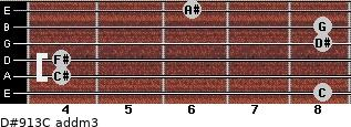D#9/13/C add(m3) for guitar on frets 8, 4, 4, 8, 8, 6
