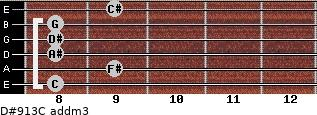 D#9/13/C add(m3) for guitar on frets 8, 9, 8, 8, 8, 9