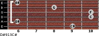 D#9/13/C# for guitar on frets 9, 6, 10, 10, 8, 6