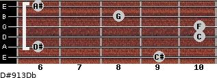 D#9/13/Db for guitar on frets 9, 6, 10, 10, 8, 6