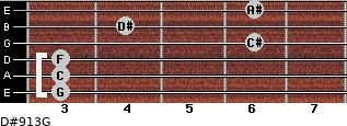 D#9/13/G for guitar on frets 3, 3, 3, 6, 4, 6