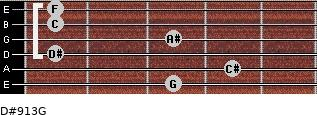 D#9/13/G for guitar on frets 3, 4, 1, 3, 1, 1