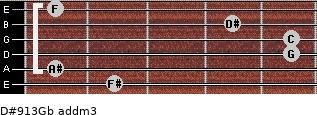 D#9/13/Gb add(m3) for guitar on frets 2, 1, 5, 5, 4, 1