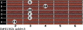 D#9/13/Gb add(m3) for guitar on frets 2, 3, 3, 3, 4, 3