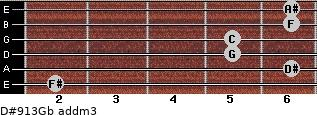 D#9/13/Gb add(m3) for guitar on frets 2, 6, 5, 5, 6, 6