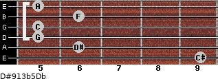 D#9/13b5/Db for guitar on frets 9, 6, 5, 5, 6, 5