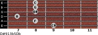 D#9/13b5/Db for guitar on frets 9, 8, 7, 8, 8, 8