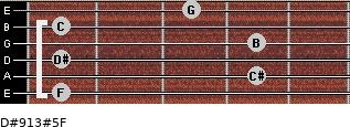 D#9/13#5/F for guitar on frets 1, 4, 1, 4, 1, 3
