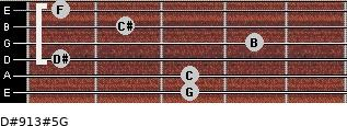 D#9/13#5/G for guitar on frets 3, 3, 1, 4, 2, 1