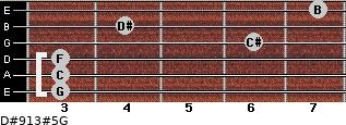 D#9/13#5/G for guitar on frets 3, 3, 3, 6, 4, 7