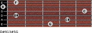D#9/13#5/G for guitar on frets 3, 4, 1, 5, 0, 1