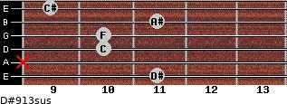 D#9/13sus for guitar on frets 11, x, 10, 10, 11, 9