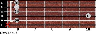D#9/13sus for guitar on frets x, 6, 10, 6, 6, 6