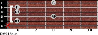D#9/13sus for guitar on frets x, 6, 8, 6, 6, 8
