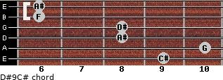D#9/C# for guitar on frets 9, 10, 8, 8, 6, 6