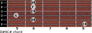 D#9/C# for guitar on frets 9, 6, 5, 6, 6, 6