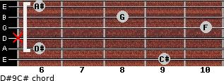 D#9/C# for guitar on frets 9, 6, x, 10, 8, 6