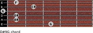 D#9/G for guitar on frets 3, 1, 1, 0, 2, 1