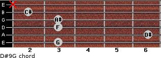D#9/G for guitar on frets 3, 6, 3, 3, 2, x