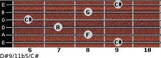 D#9/11b5/C# for guitar on frets 9, 8, 7, 6, 8, 9