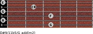 D#9/11b5/G add(m2) for guitar on frets 3, 0, 3, 0, 2, 0