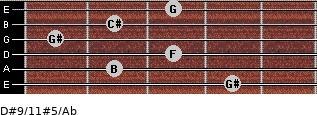 D#9/11#5/Ab for guitar on frets 4, 2, 3, 1, 2, 3