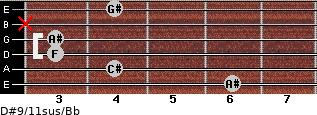 D#9/11sus/Bb for guitar on frets 6, 4, 3, 3, x, 4
