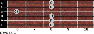 D#9/13/C for guitar on frets 8, 8, 8, 6, 8, 8