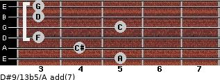 D#9/13b5/A add(7) for guitar on frets 5, 4, 3, 5, 3, 3