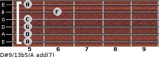 D#9/13b5/A add(7) for guitar on frets 5, 5, 5, 5, 6, 5