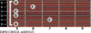 D#9/13b5/A add(m2) for guitar on frets 5, 7, 5, 5, 6, 5
