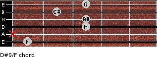 D#9/F for guitar on frets 1, x, 3, 3, 2, 3