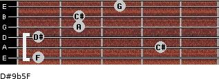 D#9b5/F for guitar on frets 1, 4, 1, 2, 2, 3