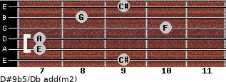 D#9b5/Db add(m2) for guitar on frets 9, 7, 7, 10, 8, 9