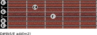 D#9b5/E add(m2) for guitar on frets 0, 0, 3, 0, 2, 0