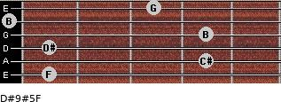 D#9#5/F for guitar on frets 1, 4, 1, 4, 0, 3