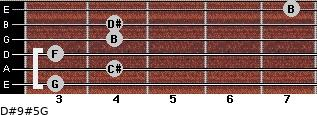 D#9#5/G for guitar on frets 3, 4, 3, 4, 4, 7