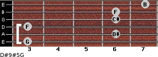 D#9#5/G for guitar on frets 3, 6, 3, 6, 6, 7