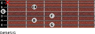 D#9#5/G for guitar on frets 3, 2, 3, 0, 2, x