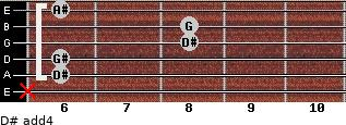 D# add(4) for guitar on frets x, 6, 6, 8, 8, 6