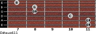 D#aug6/11 for guitar on frets 11, 11, 10, 8, 8, 7