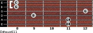 D#aug6/11 for guitar on frets 11, 11, 9, 12, 8, 8