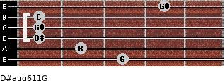 D#aug6/11/G for guitar on frets 3, 2, 1, 1, 1, 4