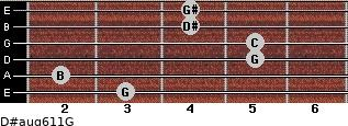 D#aug6/11/G for guitar on frets 3, 2, 5, 5, 4, 4