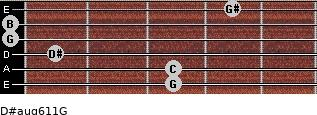 D#aug6/11/G for guitar on frets 3, 3, 1, 0, 0, 4