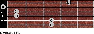 D#aug6/11/G for guitar on frets 3, 3, 1, 1, 0, 4