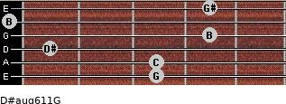 D#aug6/11/G for guitar on frets 3, 3, 1, 4, 0, 4
