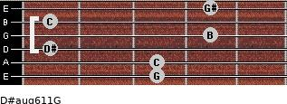 D#aug6/11/G for guitar on frets 3, 3, 1, 4, 1, 4