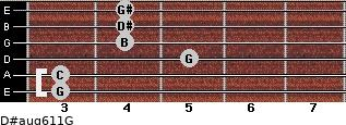 D#aug6/11/G for guitar on frets 3, 3, 5, 4, 4, 4