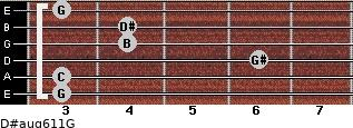 D#aug6/11/G for guitar on frets 3, 3, 6, 4, 4, 3